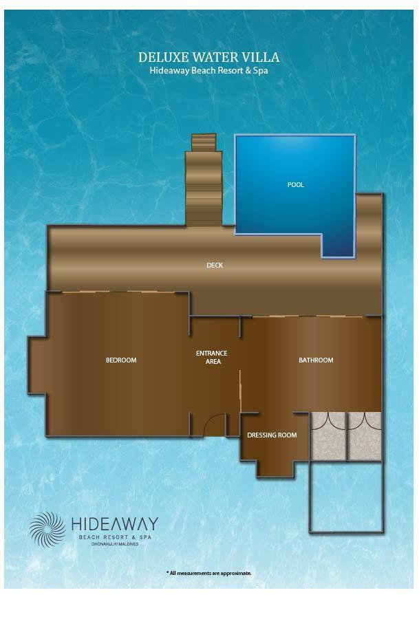 Мальдивы, Отель Hideaway Beach Resort & Spa, план-схема номера Deluxe Water Villa