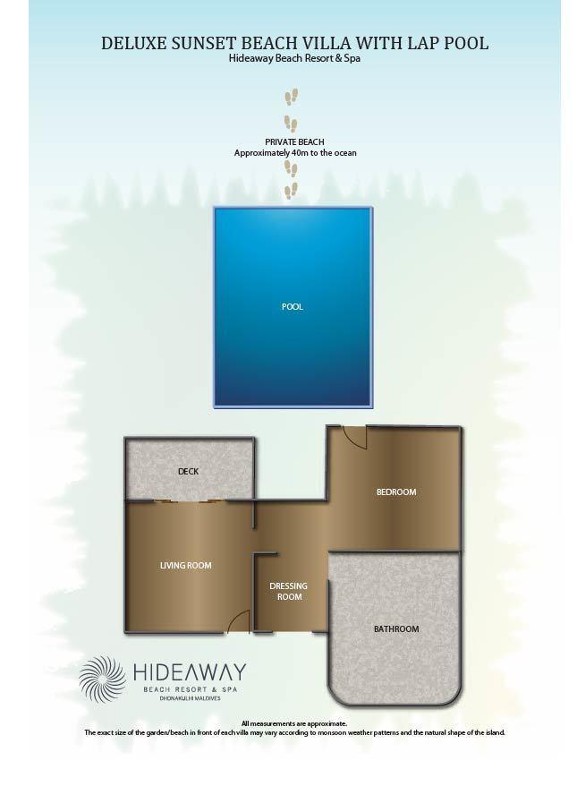 Мальдивы, Отель Hideaway Beach Resort & Spa, план-схема номера Deluxe Sunset Beach Villa