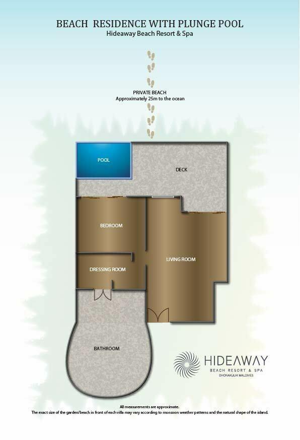 Мальдивы, Отель Hideaway Beach Resort & Spa, план-схема номера Beach Residence with Plunge Pool