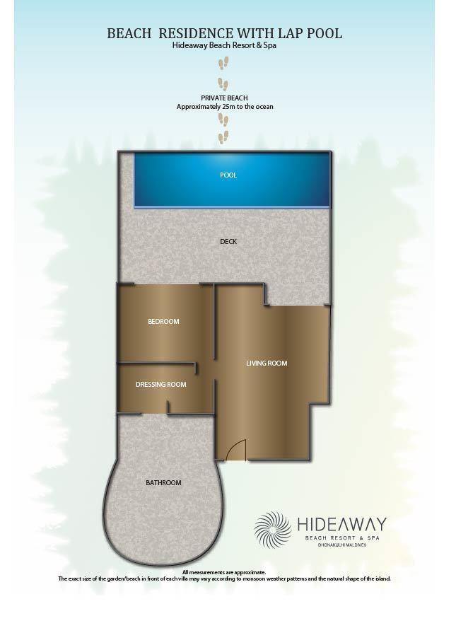 Мальдивы, Отель Hideaway Beach Resort & Spa, план-схема номера Deluxe Beach Residence with Pool