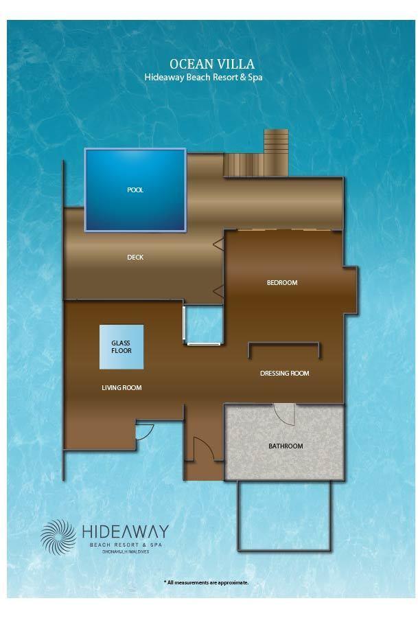 Мальдивы, Отель Hideaway Beach Resort & Spa, план-схема номера Ocean Villa with Pool