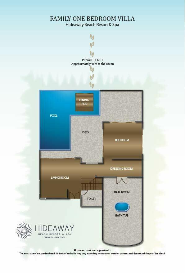 Мальдивы, Отель Hideaway Beach Resort & Spa, план-схема номера Family Villa with Pool