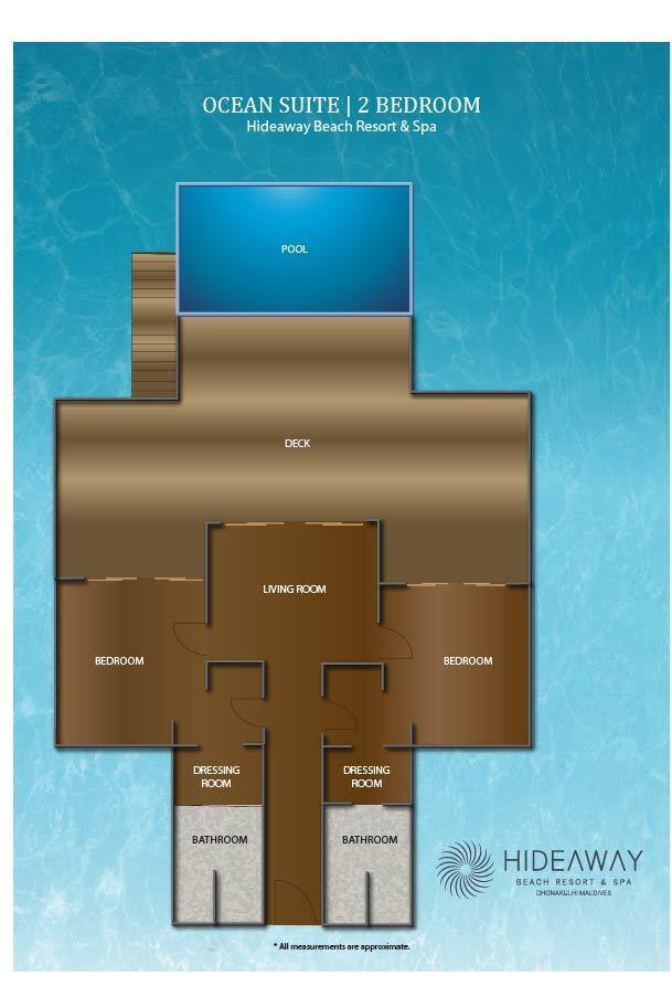 Мальдивы, Отель Hideaway Beach Resort & Spa, план-схема номера Ocean Villa 2-Bedroom with Pool