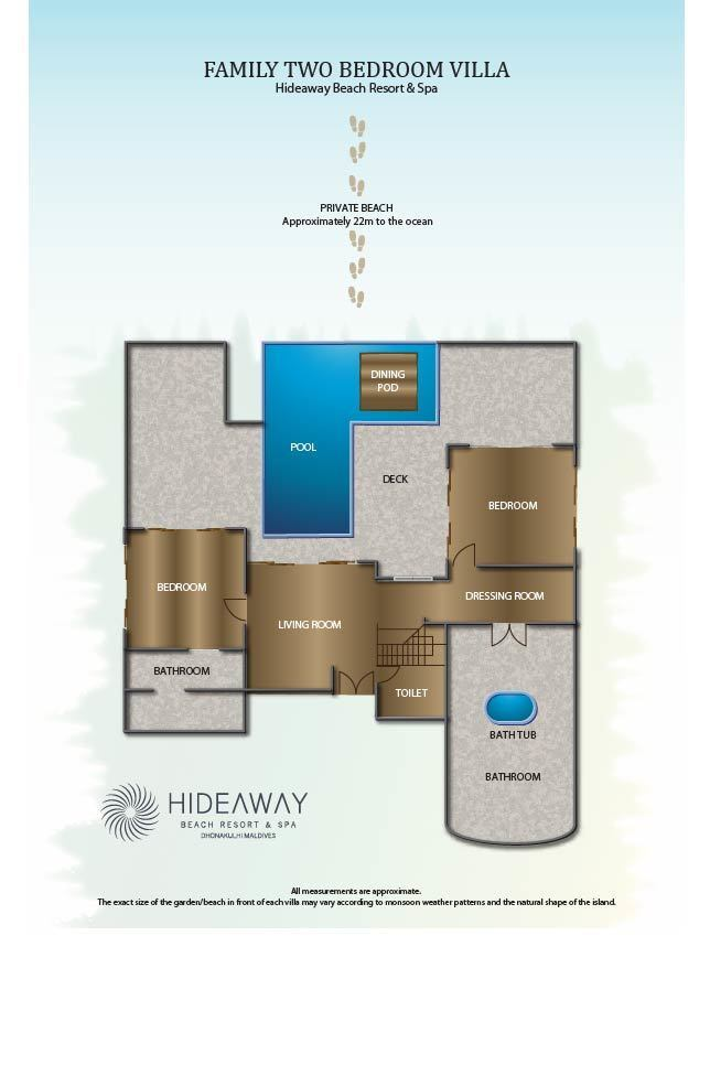 Мальдивы, Отель Hideaway Beach Resort & Spa, план-схема номера Two Bedroom Family Villa with Pool