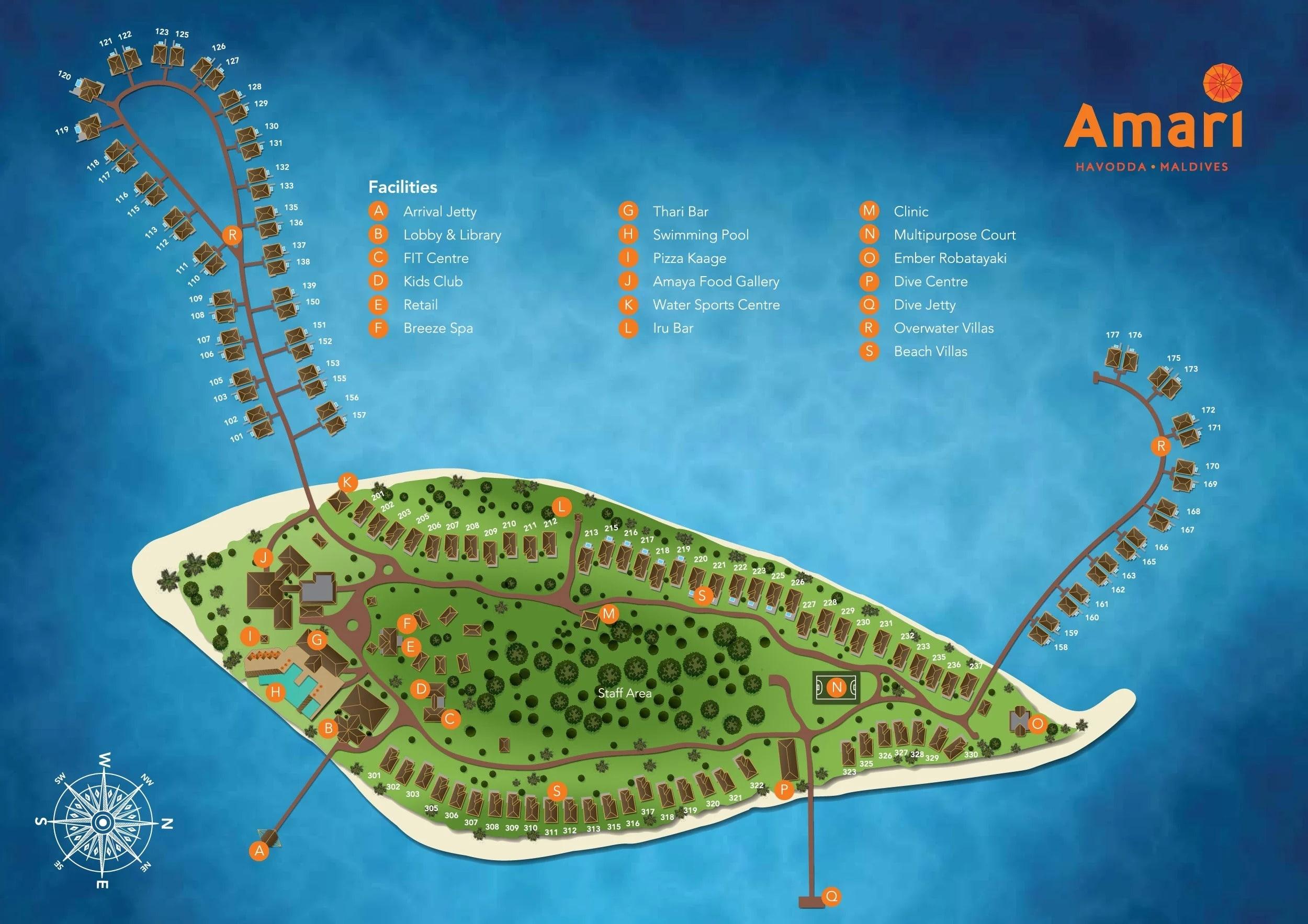 Мальдивы, Amari Havodda Maldives, карта отеля
