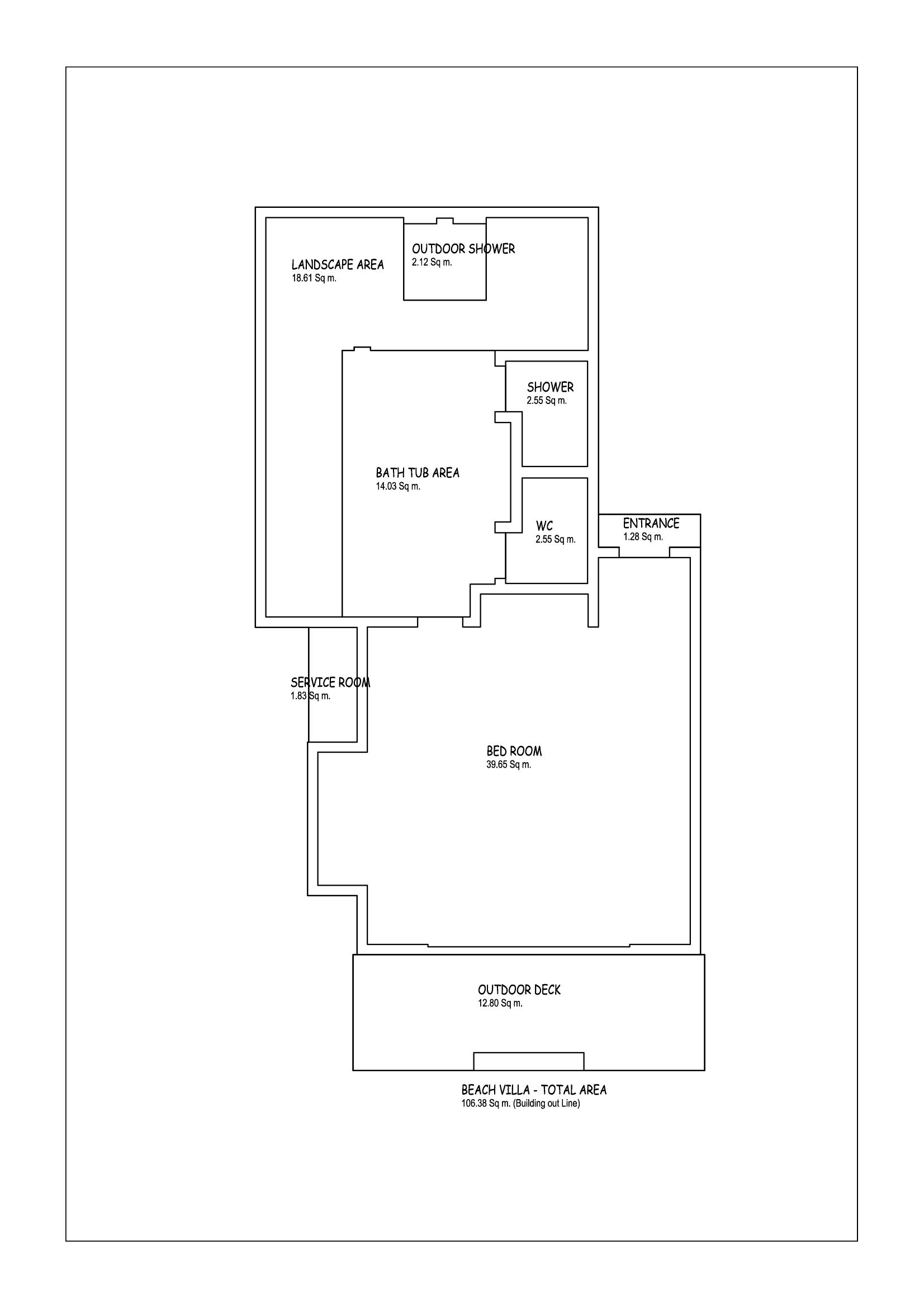 Мальдивы, Отель Amari Havodda Maldives, план-схема номера Deluxe Beach Villa