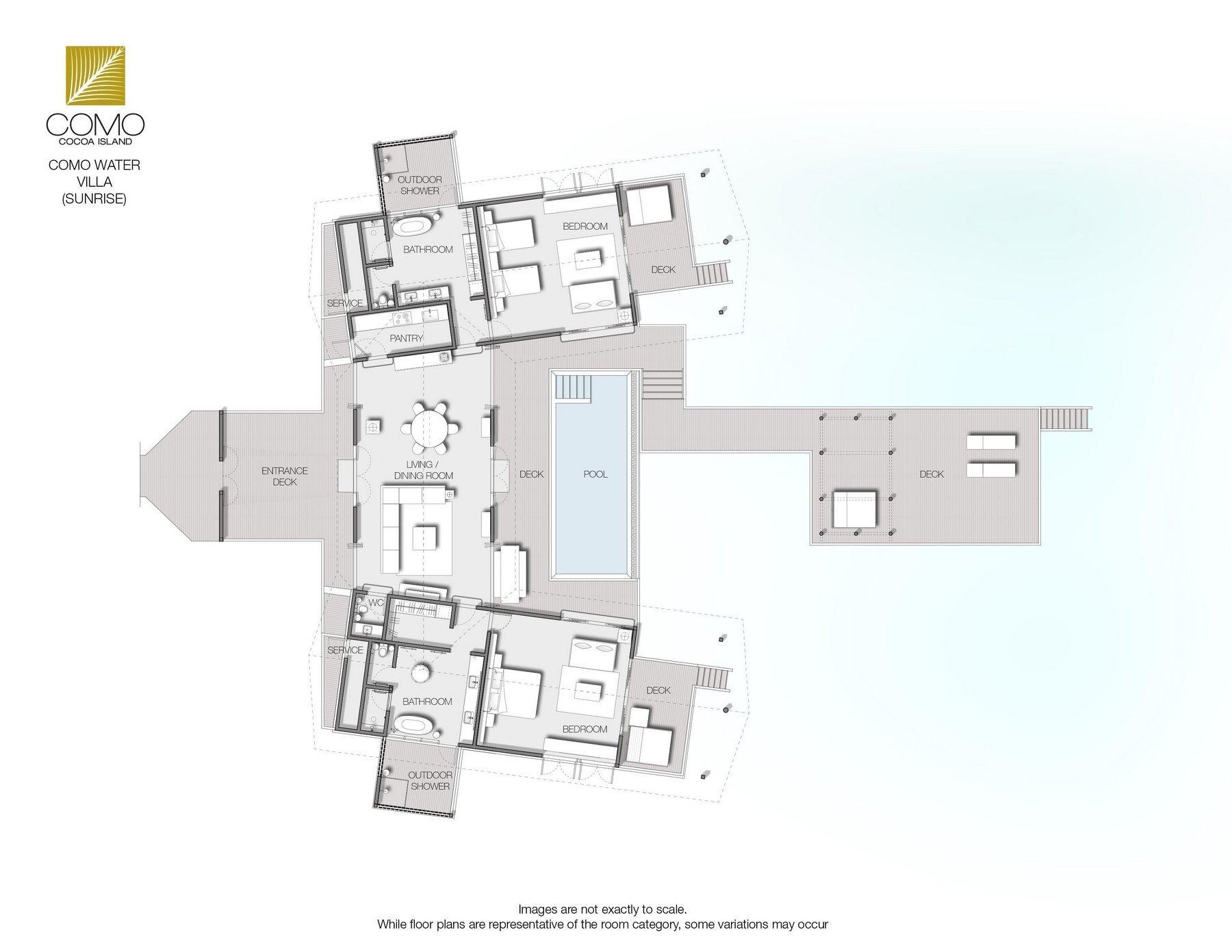 Мальдивы, Отель COMO Cocoa Island, план-схема номера COMO Water Villa