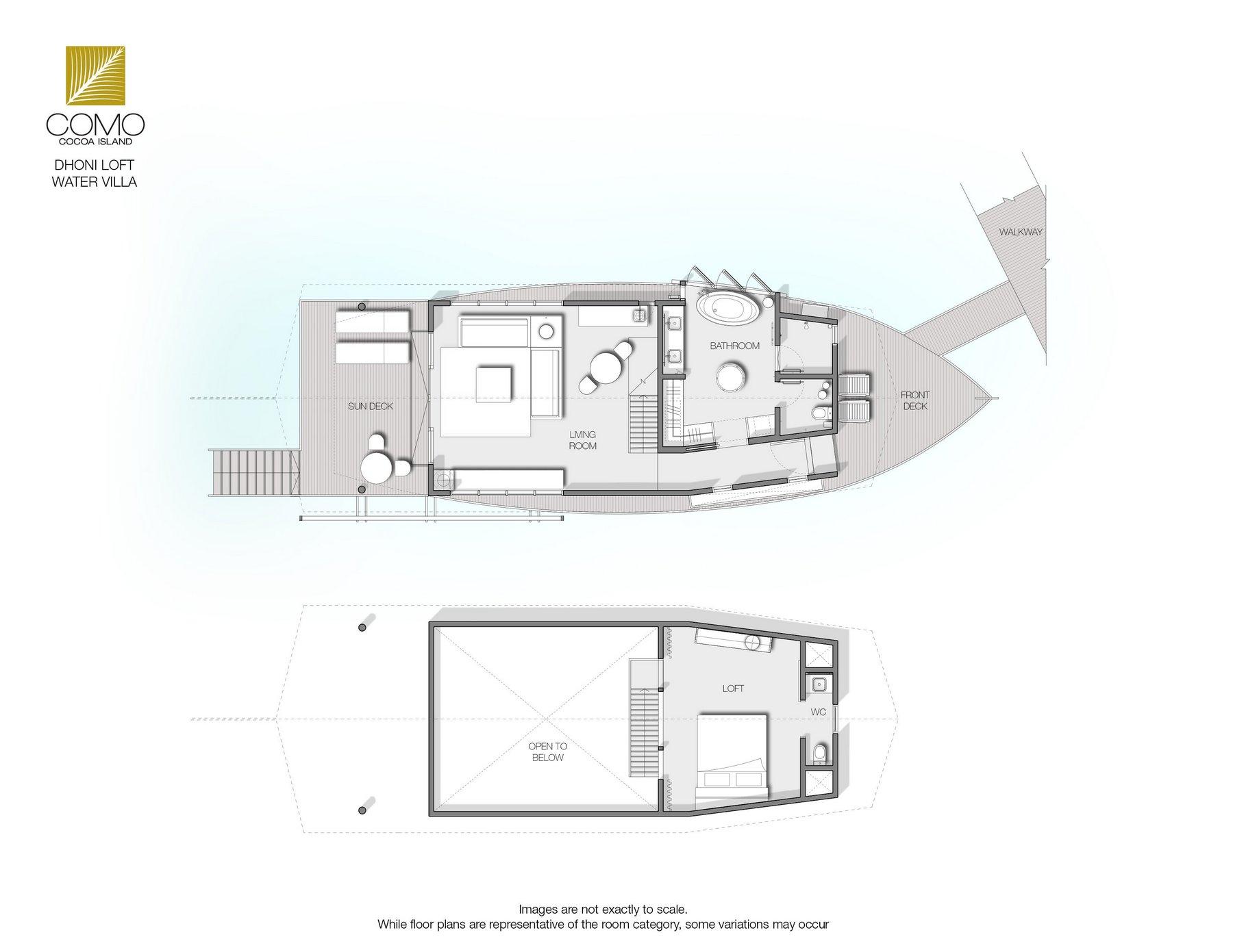 Мальдивы, Отель COMO Cocoa Island, план-схема номера Dhoni Loft Water Villa