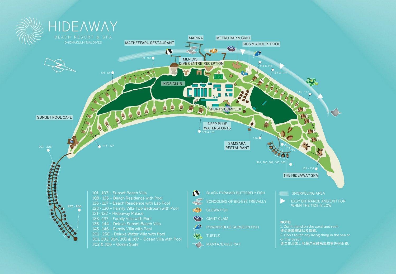Мальдивы, отель Hideaway Beach Resort & Spa, карта отеля