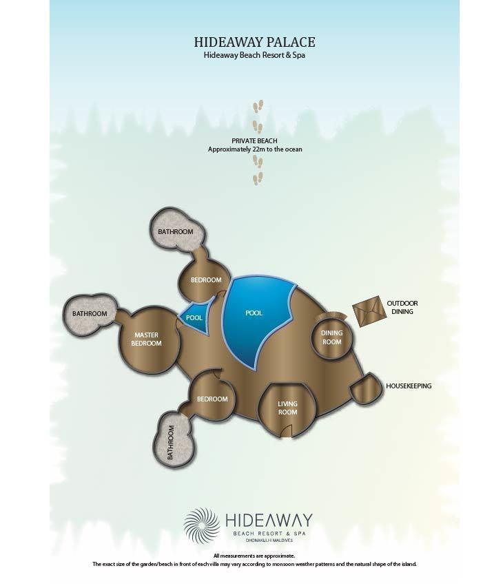 Мальдивы, Отель Hideaway Beach Resort & Spa, план-схема номера Hideaway Palace