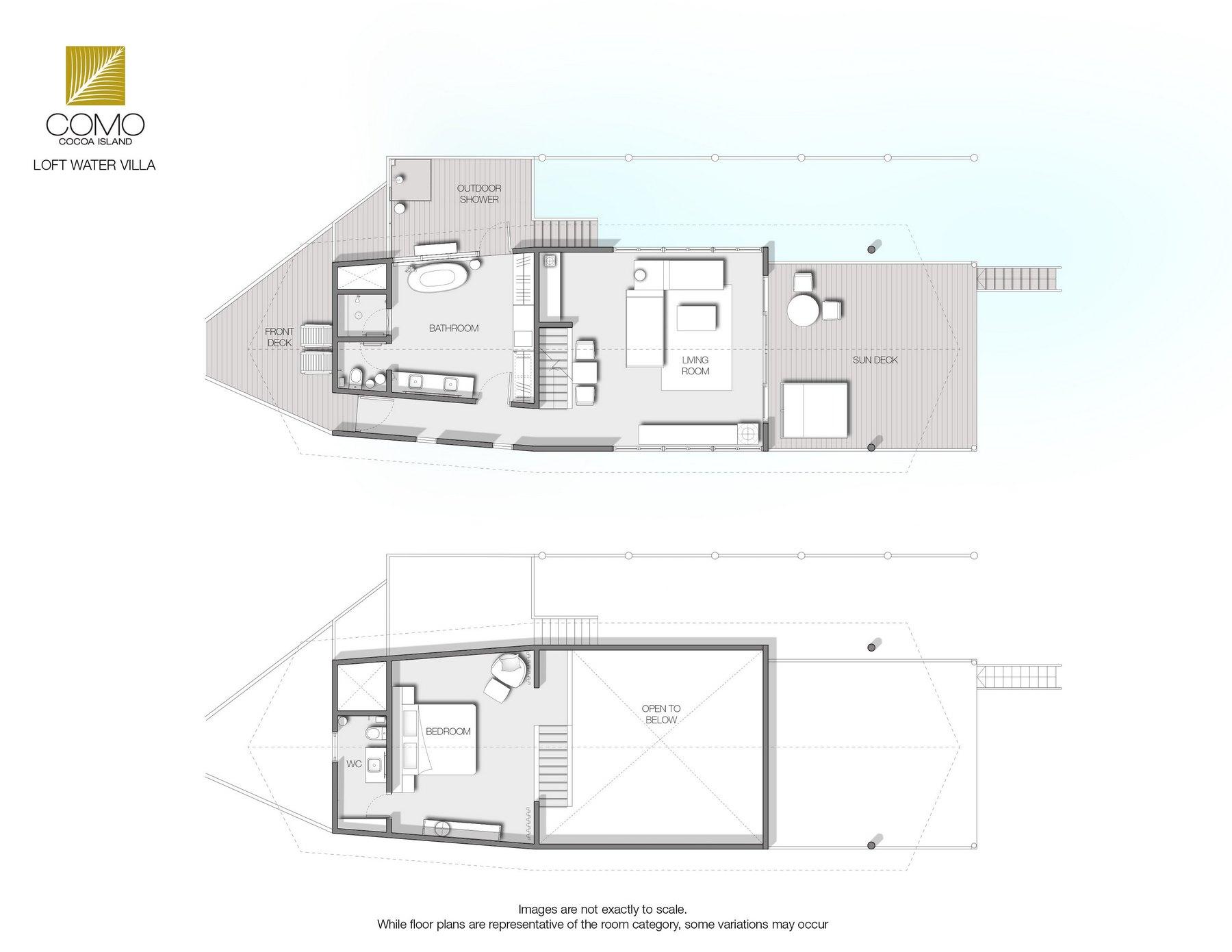 Мальдивы, Отель COMO Cocoa Island, план-схема номера Loft Water Villa