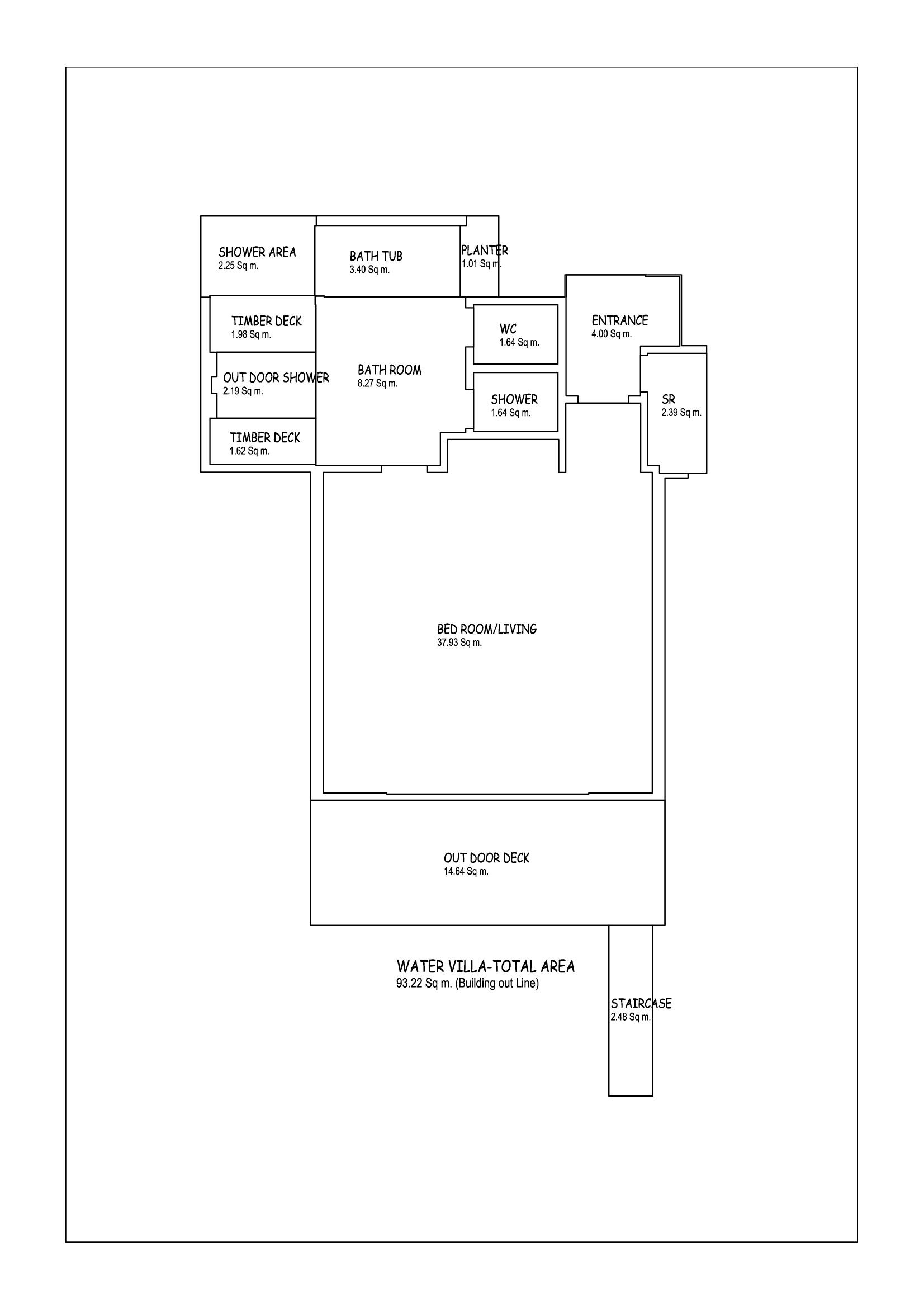Мальдивы, Отель Amari Havodda Maldives, план-схема номера Over Water Villa