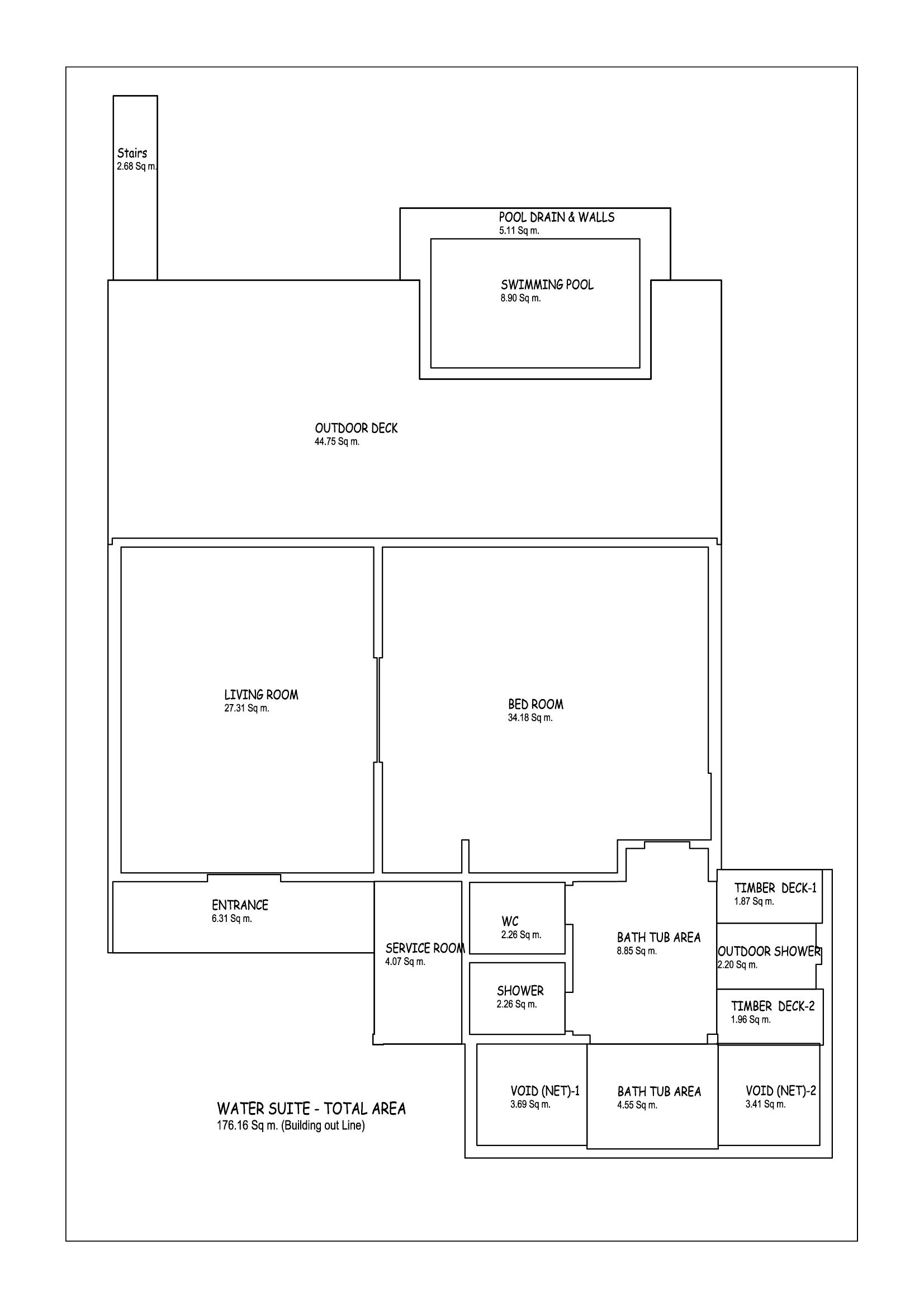 Мальдивы, Отель Amari Havodda Maldives, план-схема номера Overwater Pool Suite