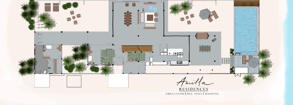 Мальдивы, Отель Amilla Fushi Maldives, план-схема номера 4-Bedroom Beach Residence
