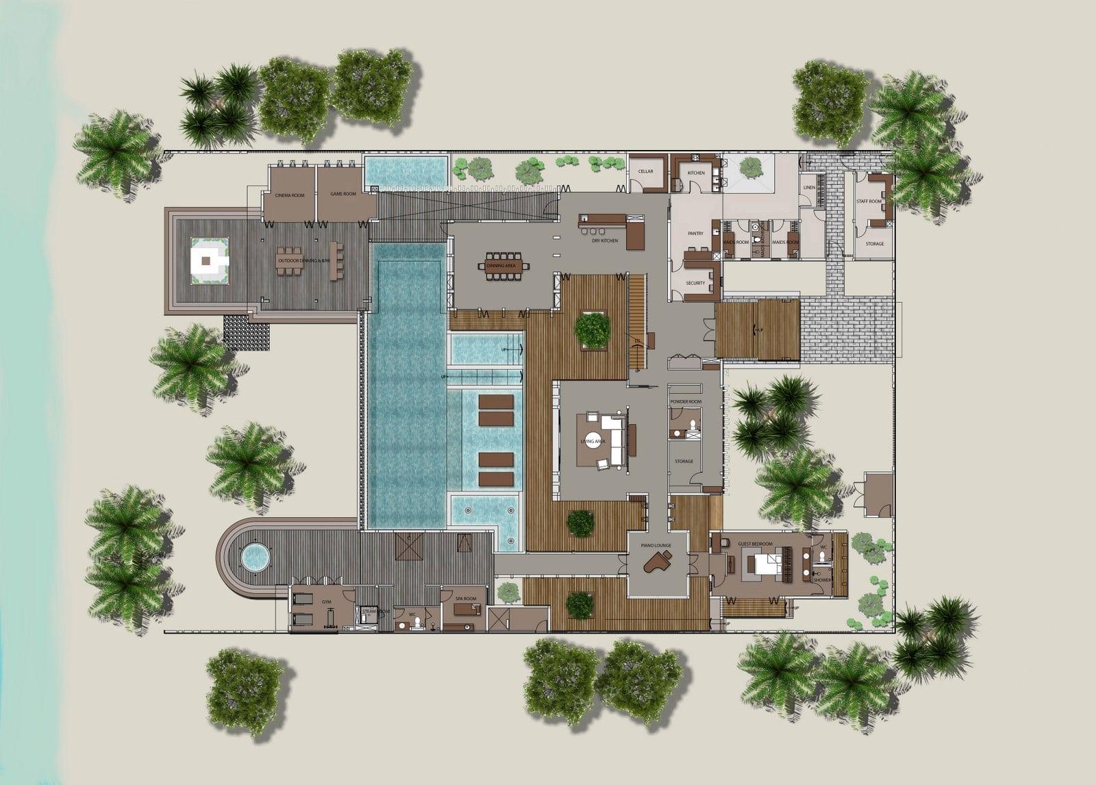 Мальдивы, Отель Amilla Fushi Maldives, план-схема номера The Amila Estate Residence
