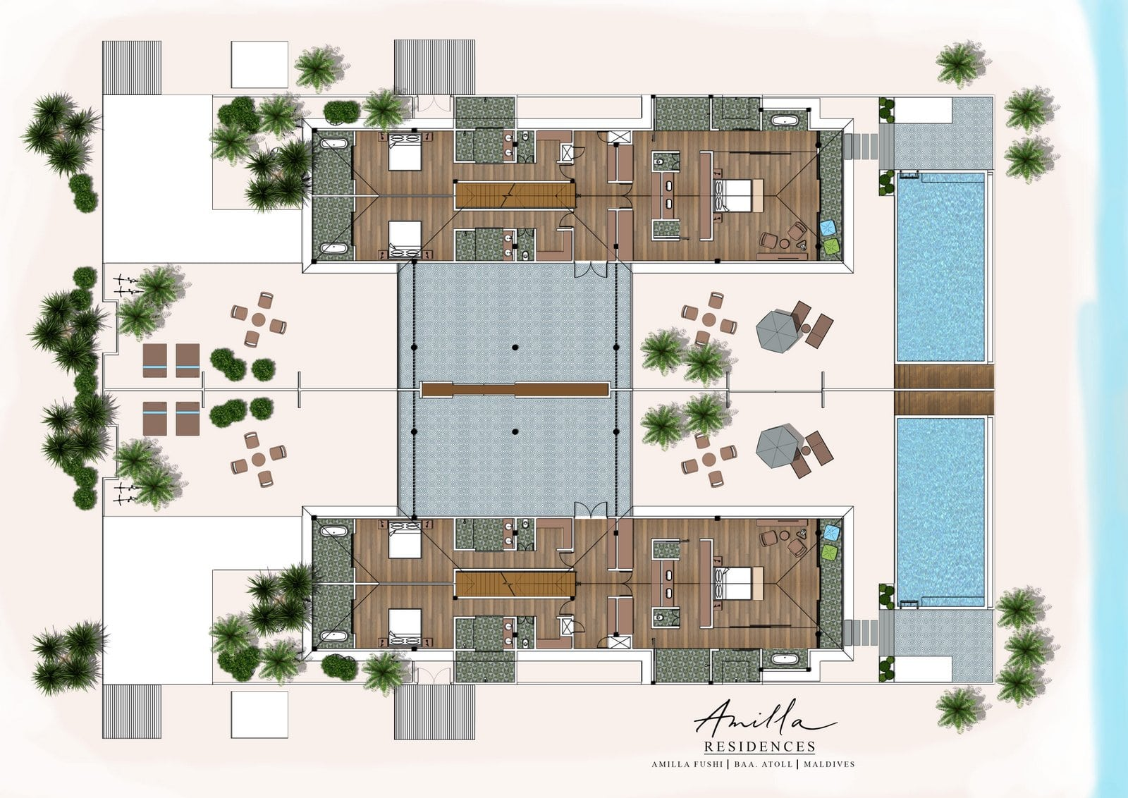Мальдивы, Отель Amilla Fushi Maldives, план-схема номера The Great Beach Residence