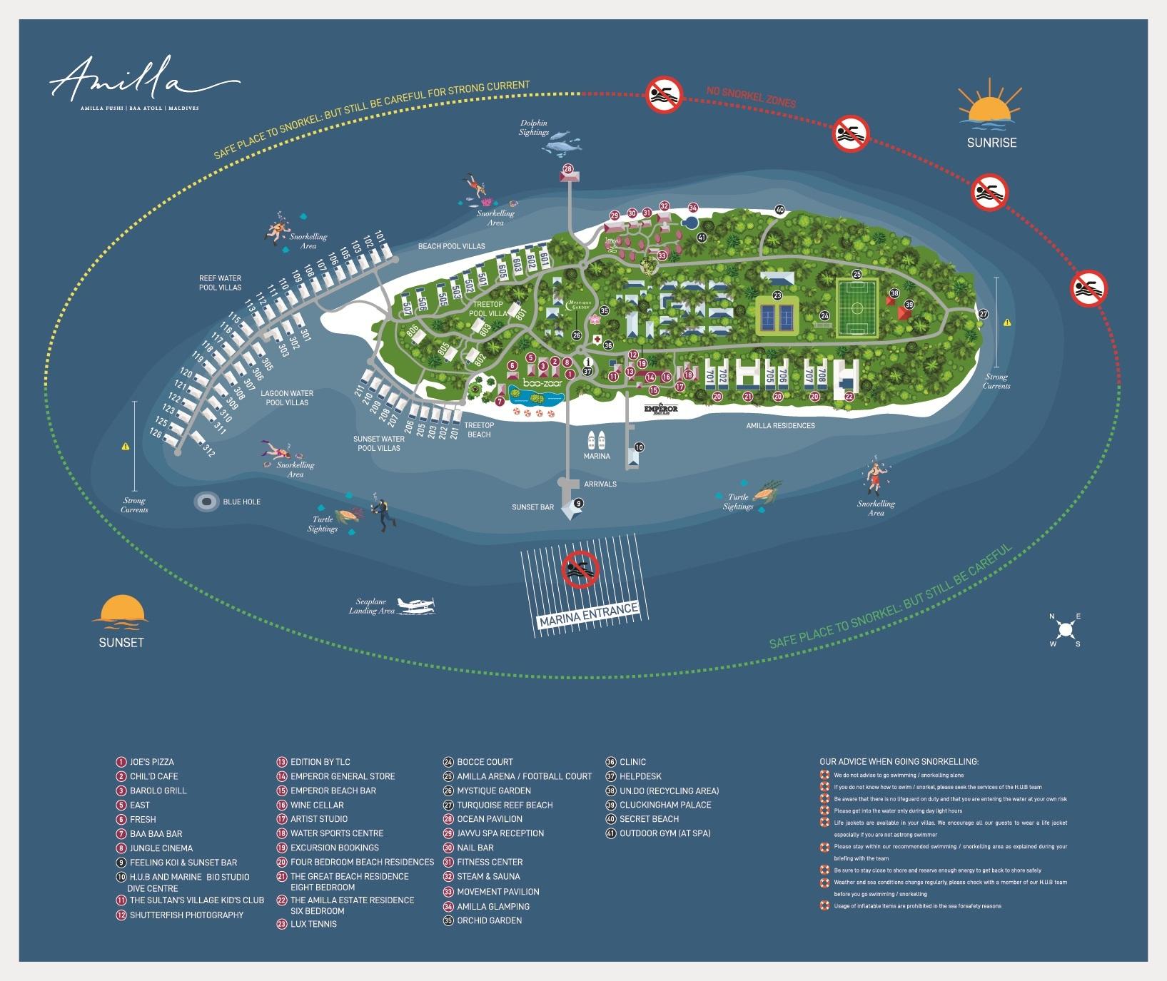 Мальдивы, отель Amilla Fushi Maldives, карта отеля