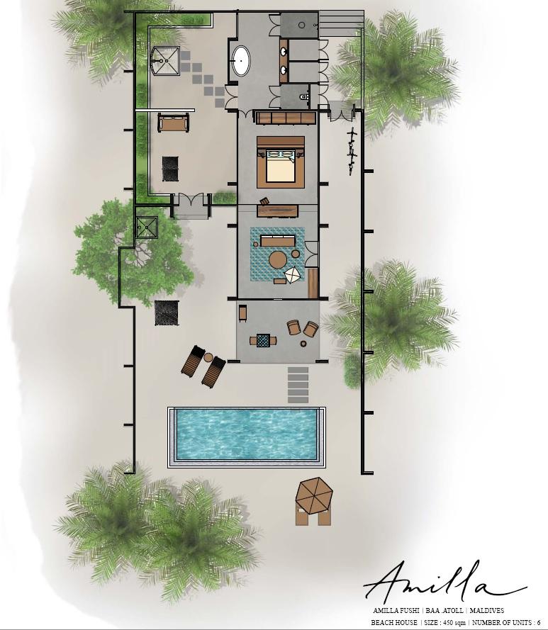 Мальдивы, Отель Amilla Fushi Maldives, план-схема номера Beach Pool Villa