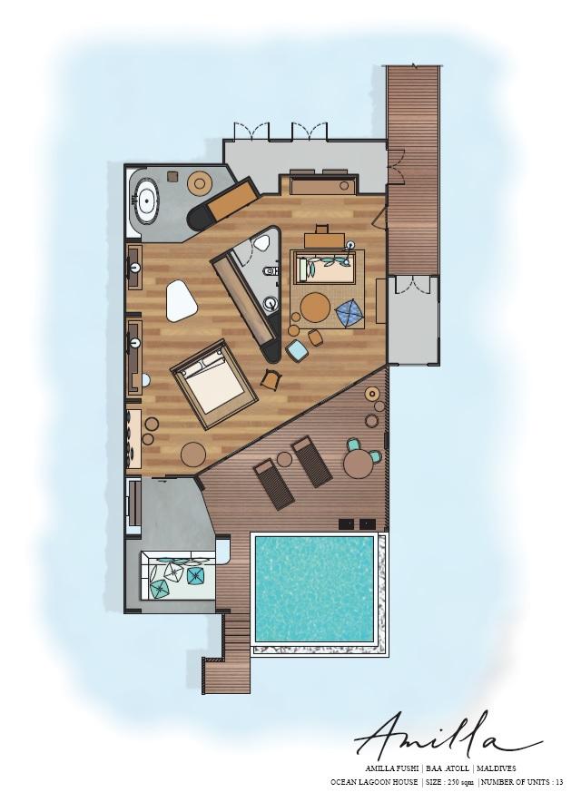 Мальдивы, Отель Amilla Fushi Maldives, план-схема номера Lagoon Water Pool Villa