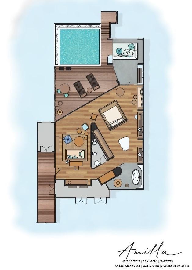 Мальдивы, Отель Amilla Fushi Maldives, план-схема номера Reef Water Pool Villa