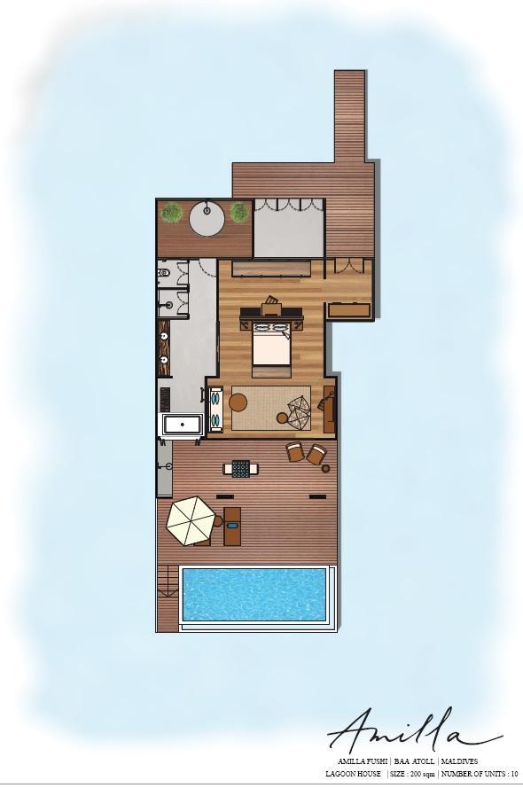 Мальдивы, Отель Amilla Fushi Maldives, план-схема номера Sunset Water Pool Villa