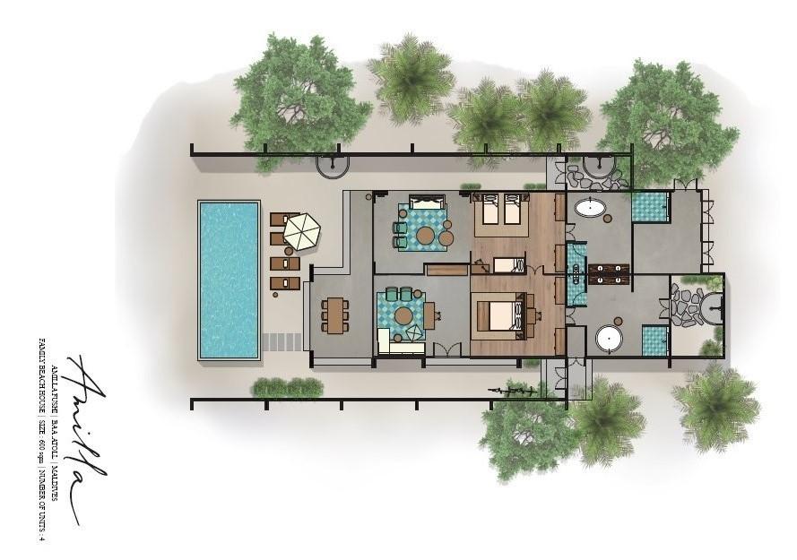 Мальдивы, Отель Amilla Fushi Maldives, план-схема номера 2-BedRoom Beach Pool Villa
