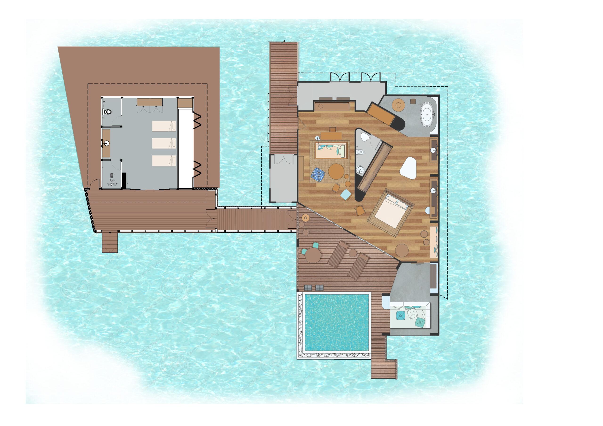 Мальдивы, Отель Amilla Fushi Maldives, план-схема номера 2-Bedroom Lagoon Water Pool Villa