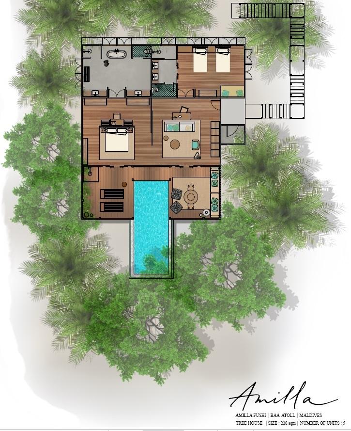 Мальдивы, Отель Amilla Fushi Maldives, план-схема номера Tree Pop Pool Villa