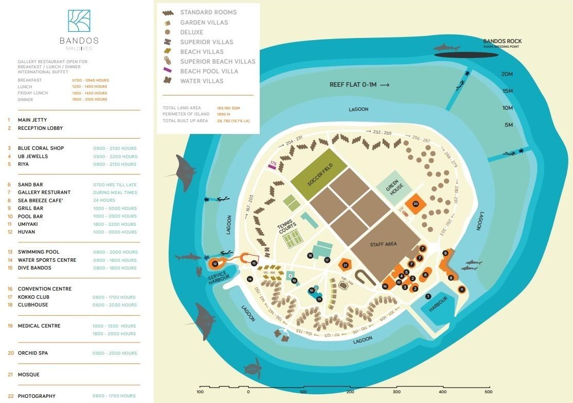 Мальдивы, Bandos Maldives, карта отеля