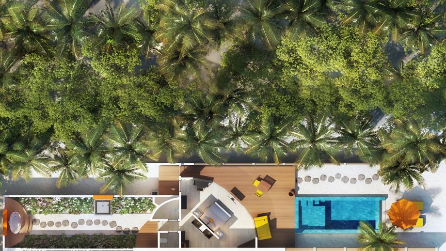 Мальдивы, отель Angsana Velavaru, план-схема номера Beachfront Infinity Pool Villa