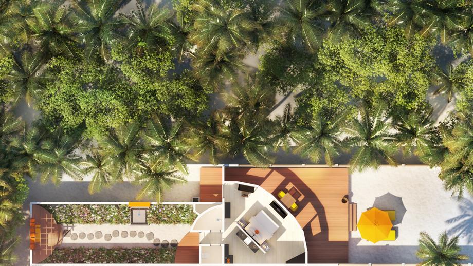 Мальдивы, отель Angsana Velavaru, план-схема номера Beachfront Villa