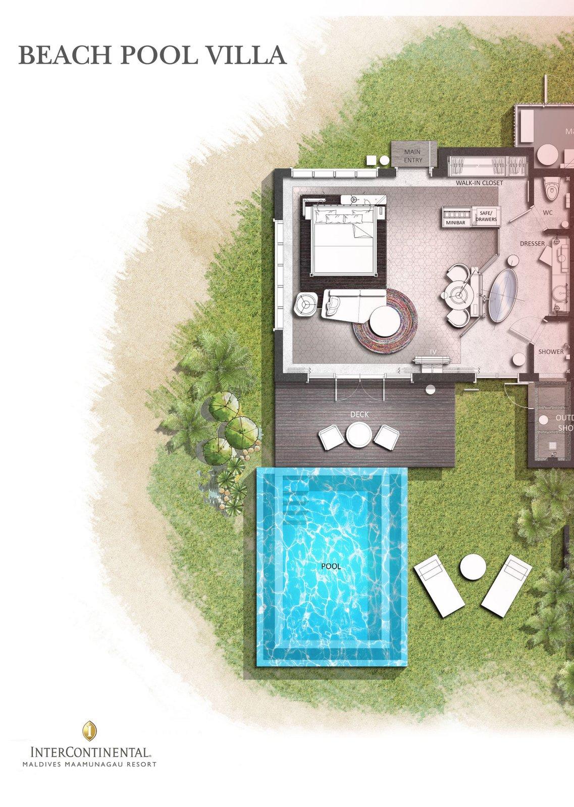 Мальдивы, отель Intercontinental Maldives Maamunagau, план-схема номера Beach Pool Villa