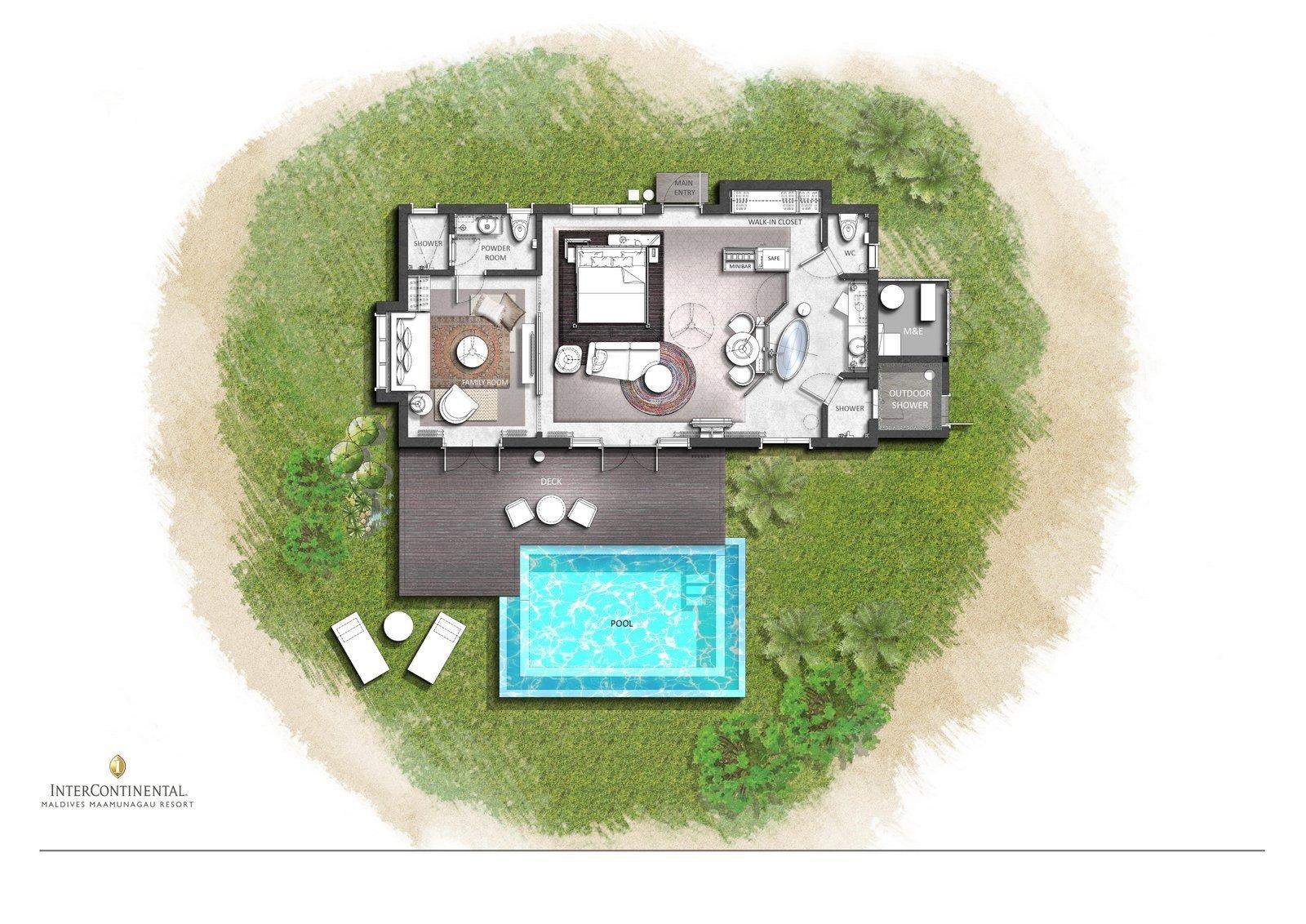 Мальдивы, отель Intercontinental Maldives Maamunagau, план-схема номера Family Beach Pool Villa
