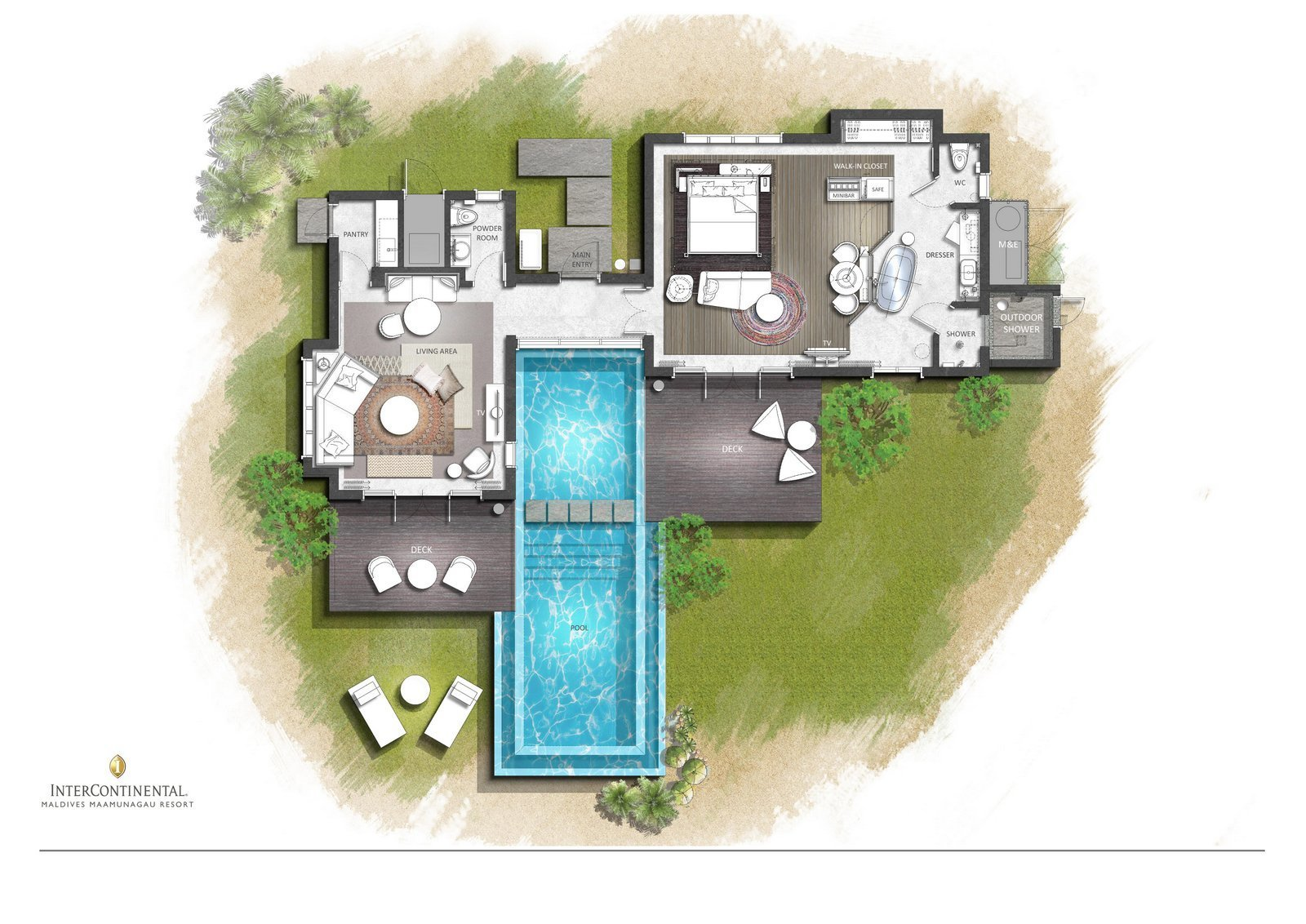 Мальдивы, отель Intercontinental Maldives Maamunagau, план-схема номера One Bedroom Beach Pool Villa