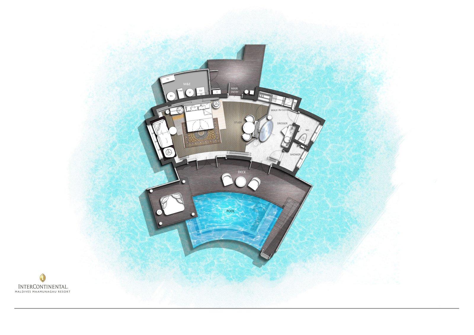 Мальдивы, отель Intercontinental Maldives Maamunagau, план-схема номера Overwater Villa with Pool