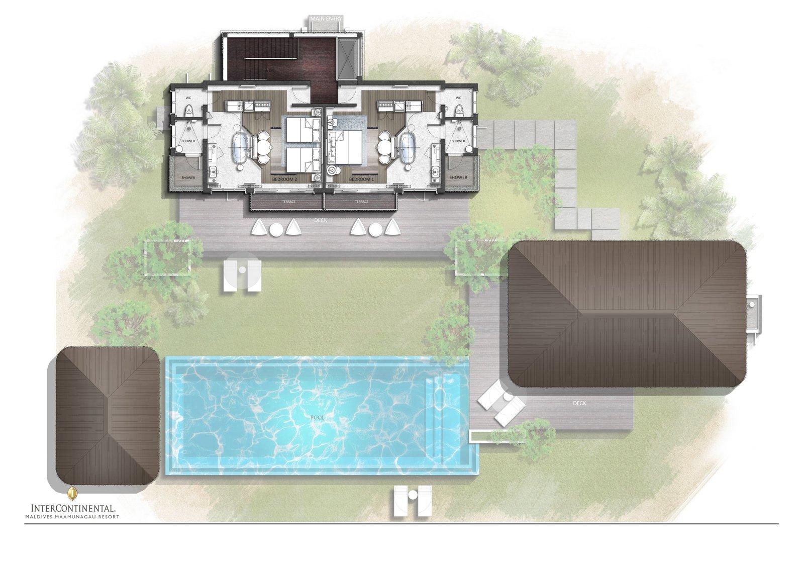 Мальдивы, отель Intercontinental Maldives Maamunagau, план-схема номера Three Bedroom Lagoon Residence