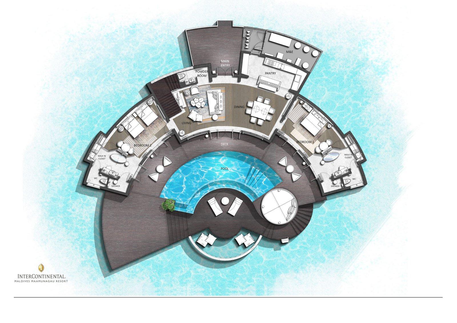 Мальдивы, отель Intercontinental Maldives Maamunagau, план-схема номера Three Bedroom Overwater Pool Residence