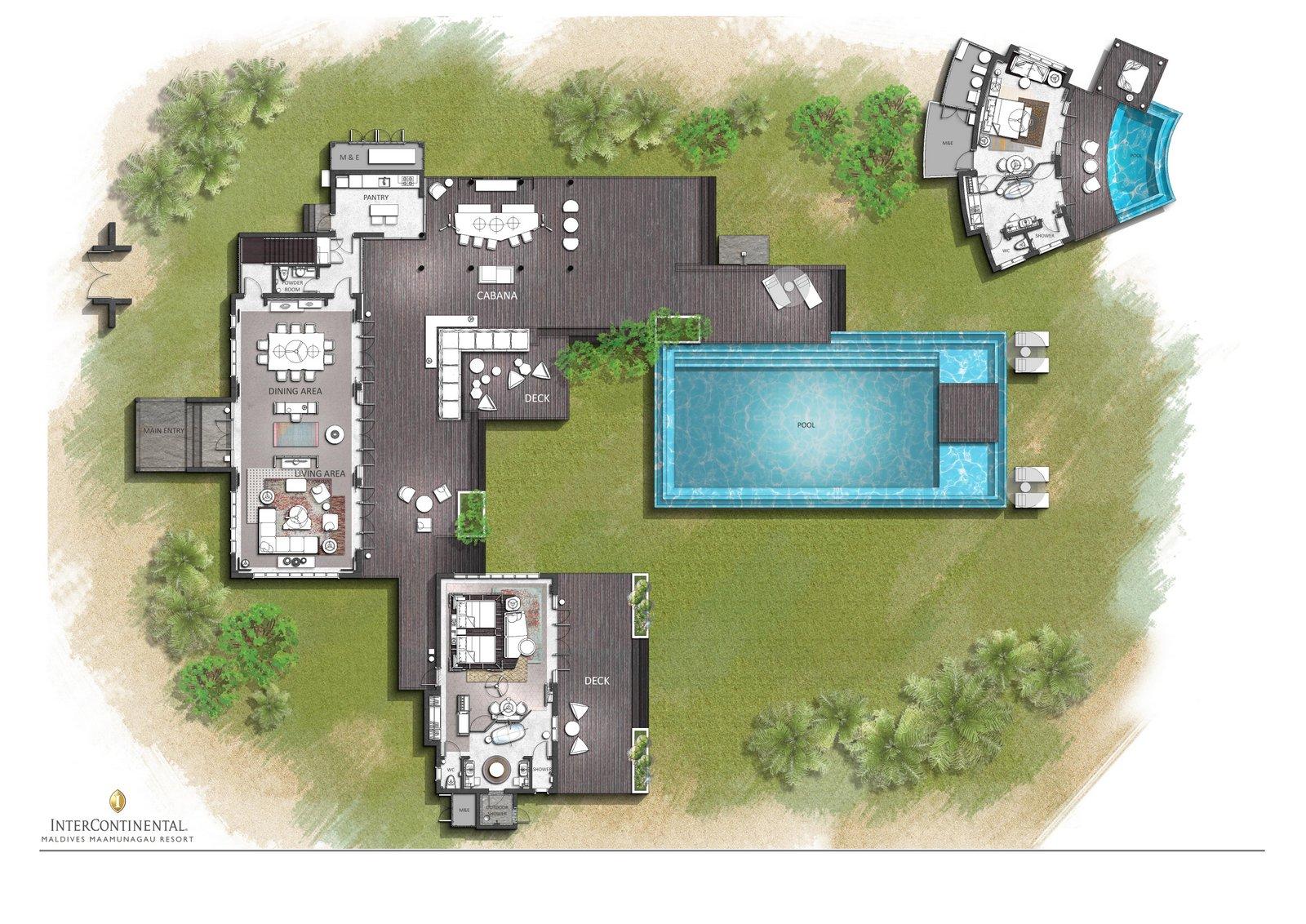 Мальдивы, отель Intercontinental Maldives Maamunagau, план-схема номера Three Bedroom Royal Beachfront Residence