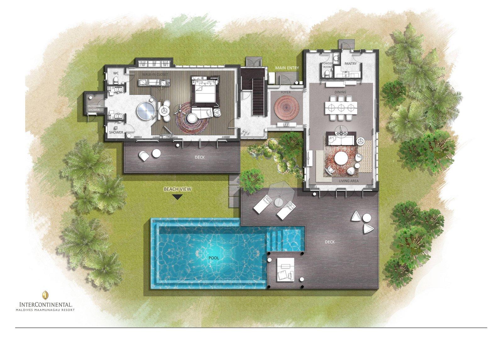 Мальдивы, отель Intercontinental Maldives Maamunagau, план-схема номера Two Bedroom Beachfront Pool Residence