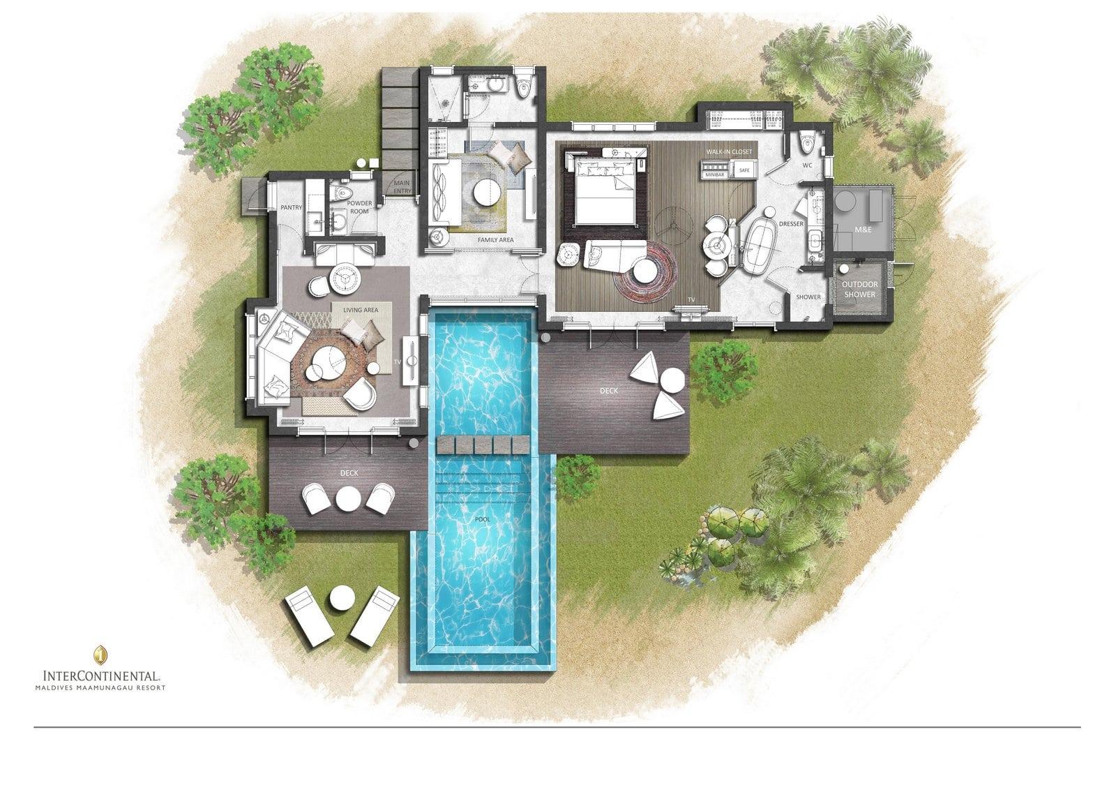 Мальдивы, отель Intercontinental Maldives Maamunagau, план-схема номера One Bedroom Lagoon Pool Villa