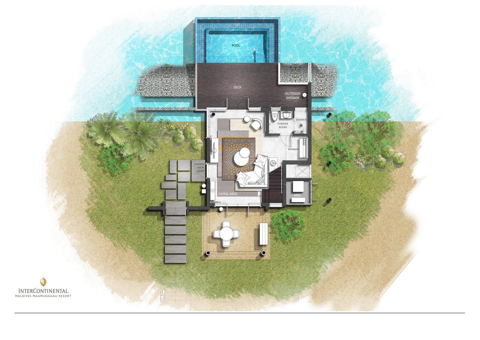 Мальдивы, отель Intercontinental Maldives Maamunagau, план-схема номера Two Bedroom Family Lagoon Pool Villa