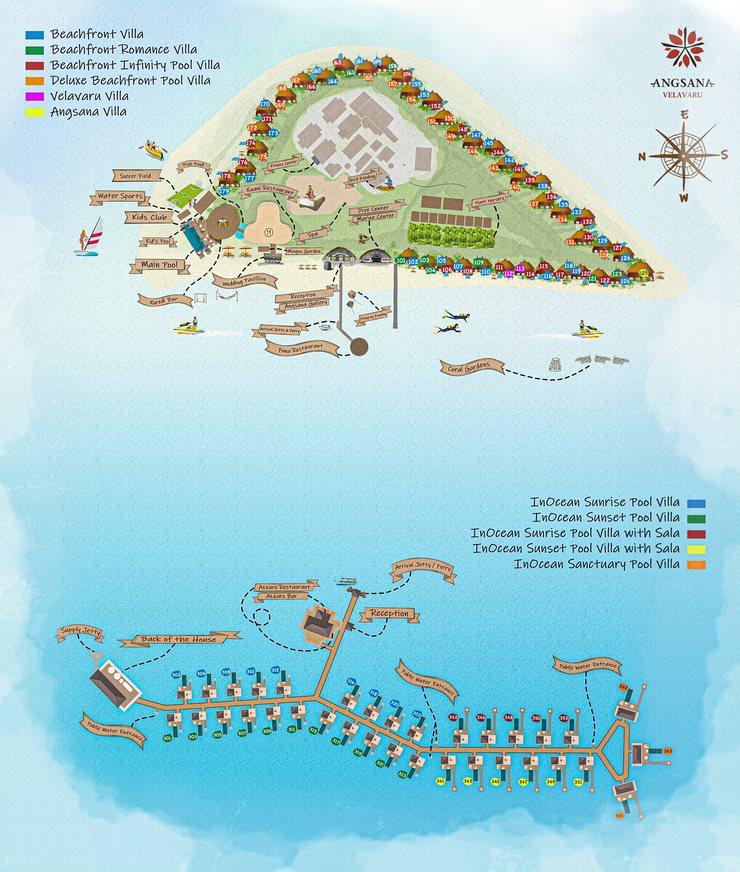 Мальдивы, Angsana Velavaru, карта отеля