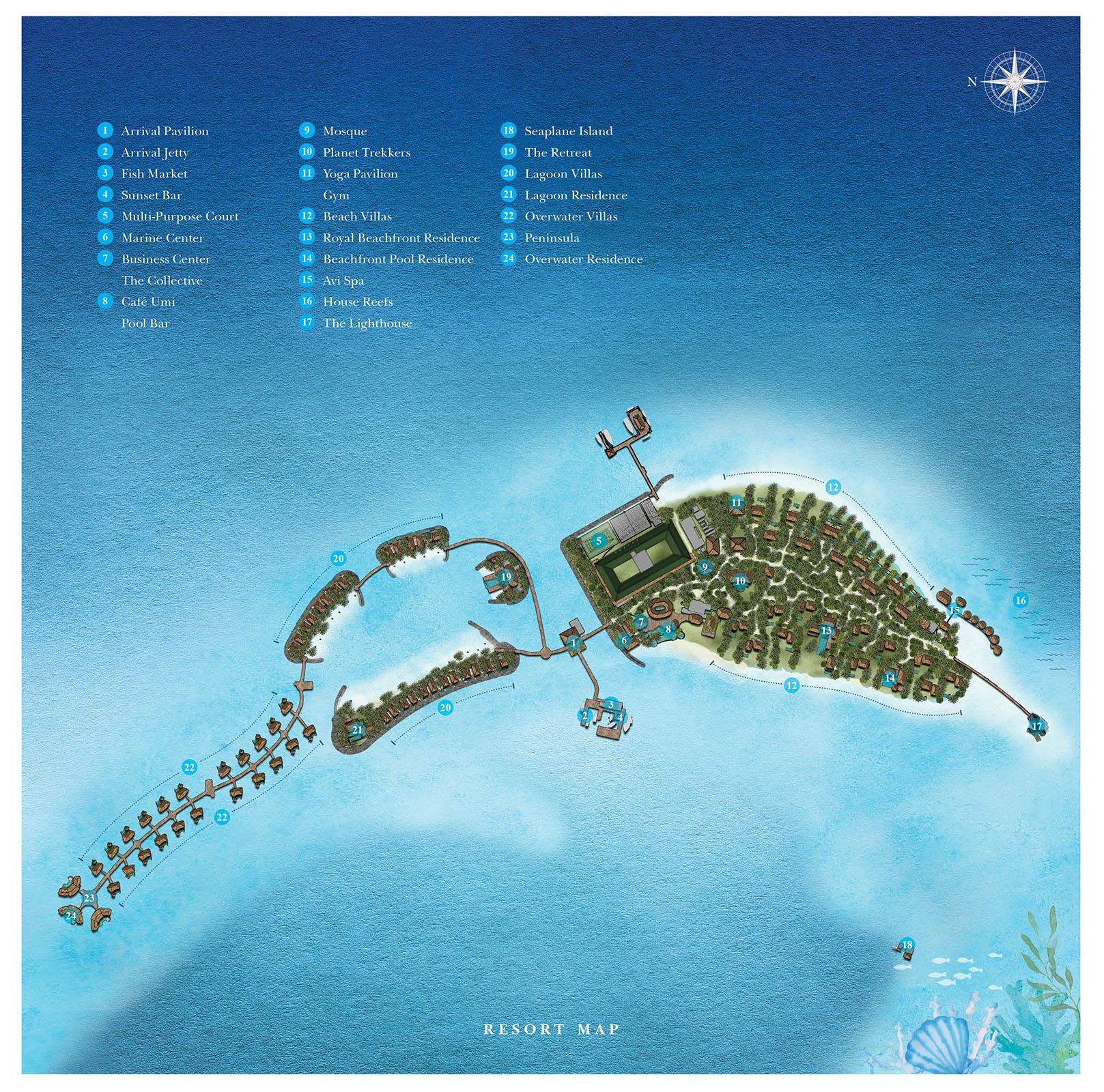 Мальдивы, Intercontinental Maldives Maamunagau, карта отеля