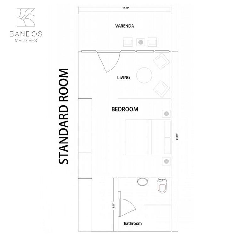 Мальдивы, отель Bandos Maldives, план-схема номера Standard Room
