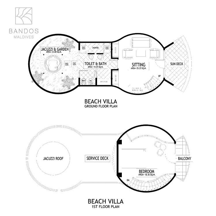 Мальдивы, отель Bandos Maldives, план-схема номера Superior Beach Villa