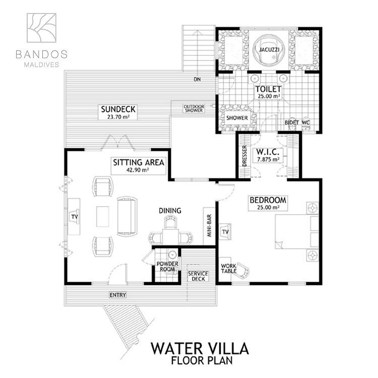 Мальдивы, отель Bandos Maldives, план-схема номера Water Villa