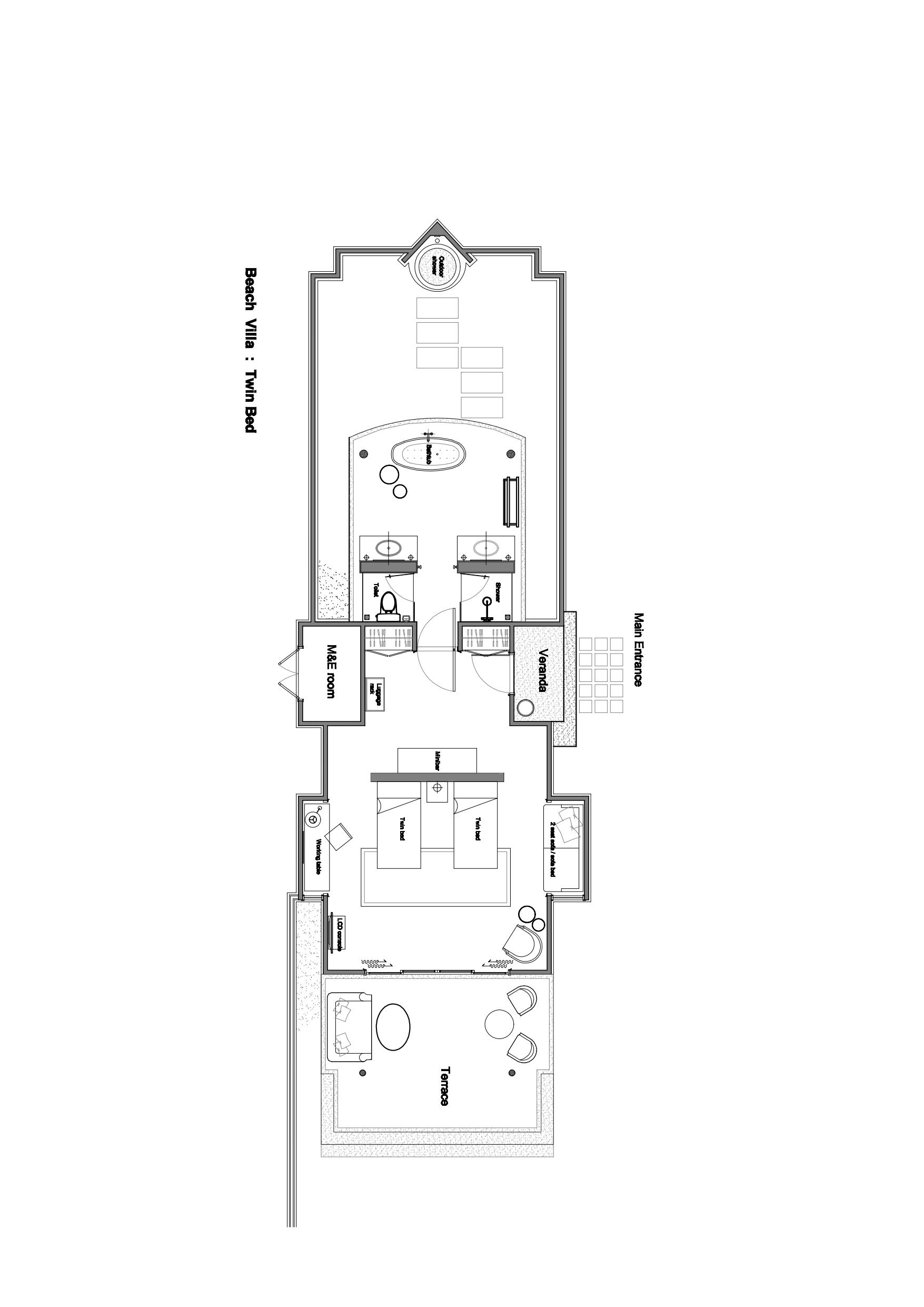 Мальдивы, отель Dusit Thani Maldives, план-схема номера Beach Villa