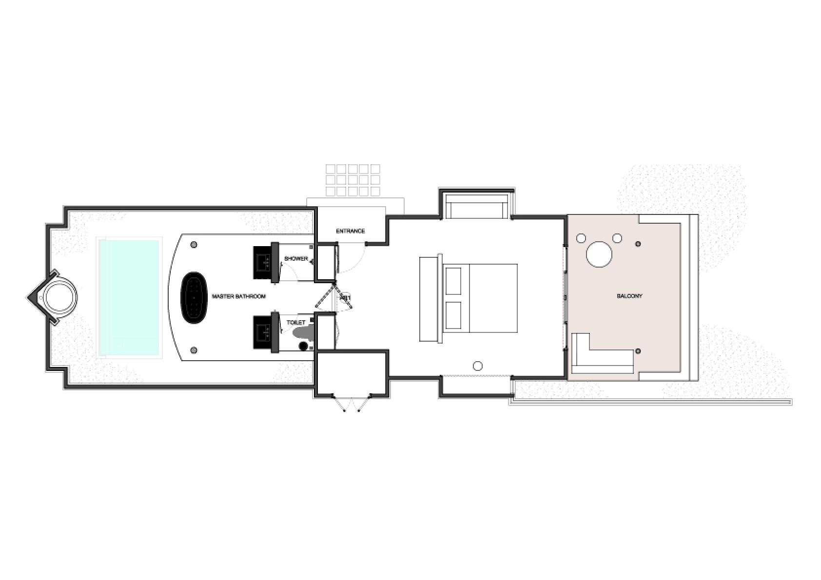 Мальдивы, отель Dusit Thani Maldives, план-схема номера Beach Villa with Pool