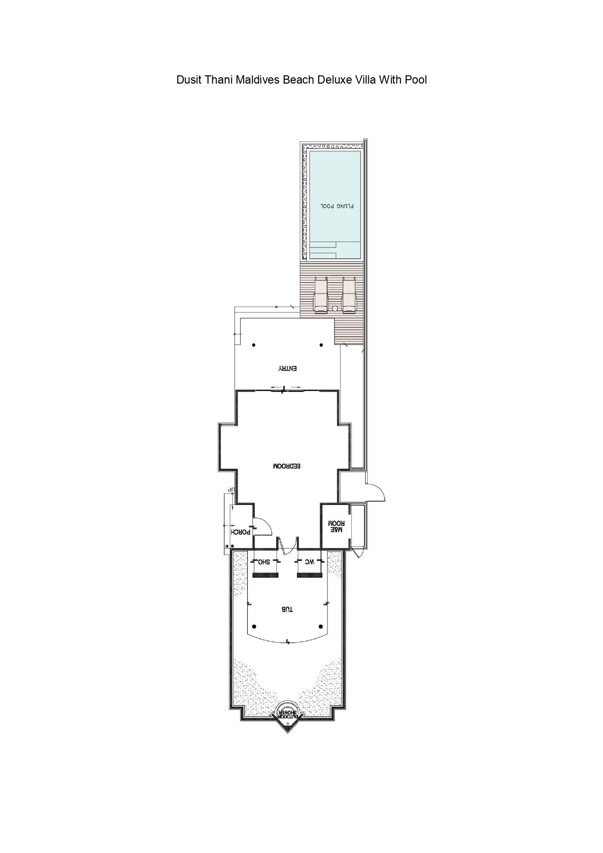 Мальдивы, отель Dusit Thani Maldives, план-схема номера Deluxe Beach Villa with Pool