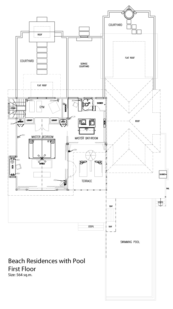 Мальдивы, отель Dusit Thani Maldives, план-схема номера Two Bedroom Beach Residence with Pool